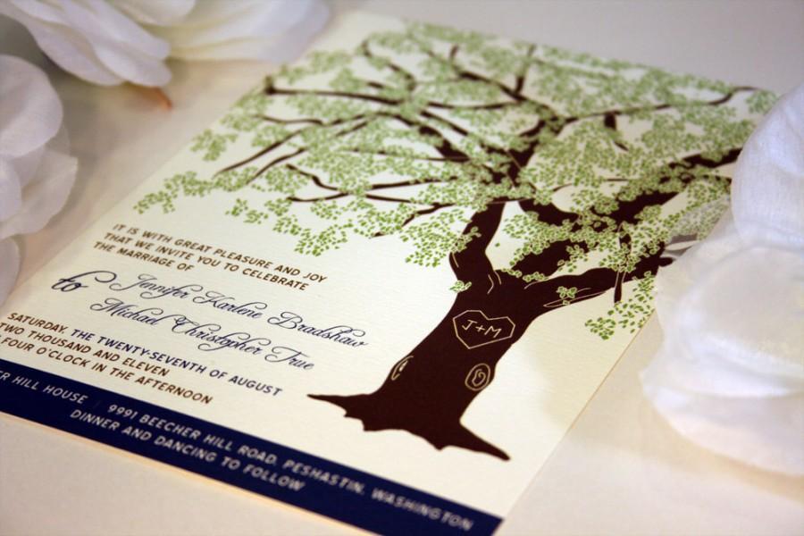 Mariage - SAMPLE Oak Tree Rustic Wedding Invitation, Printed Set or Wedding Invitation Template, Printable Invitation Suite, Rustic Wedding Invitation