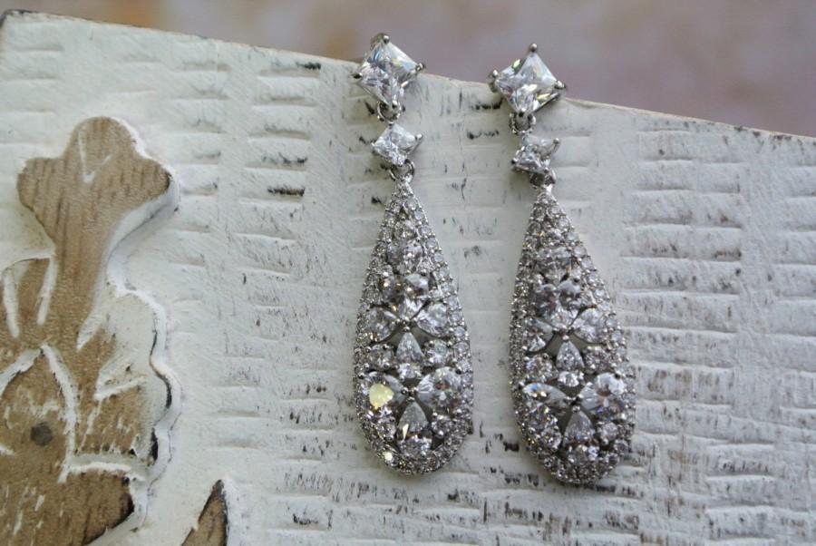 Свадьба - Wedding Earrings Bridal Earrings Dangle earrings Zircon Earrings Art Deco Earrings  Crystal Teardrop Earrings   Wedding Jewellery