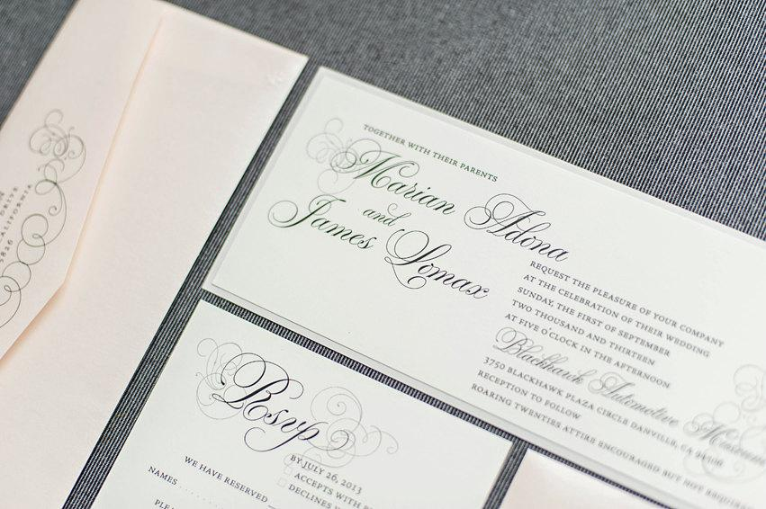 Свадьба - Blush Pink Wedding Invitation, Silver Invite, Formal Invitation Suite, Vintage Wedding Invitation - Marian and James