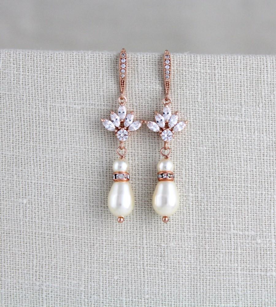 Mariage - Rose Gold Bridal earrings, Wedding jewelry, Crystal Wedding earrings, Long earrings, Bridesmaid earrings Pearl earrings Dangle earrings EMMA