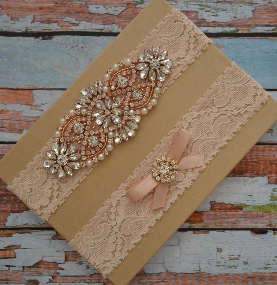 Mariage - Rose Gold Wedding Garter Set, Bridal Garter Set, Gold Rhinestone Garter Belt, Blush Wedding Garter, Crystal Garter Set, Blush Garter Set