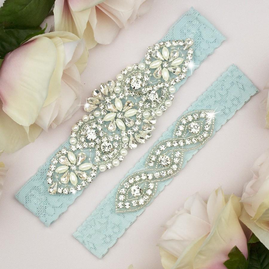 زفاف - Something Blue Garter, Light Blue Wedding Garter, Light Blue Lace Garter, Lace Garter Blue, Lace Wedding Garter, Rhinestone Garter Set, 6-1A