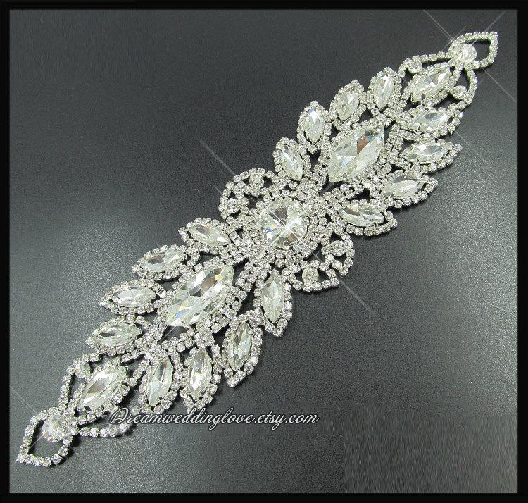Hochzeit - Crystal Applique Diamante Applique,Rhinestone applique, bridal sash applique, Bridal Applique, wedding shoes,Headband Jewelry,DIY Wedding D