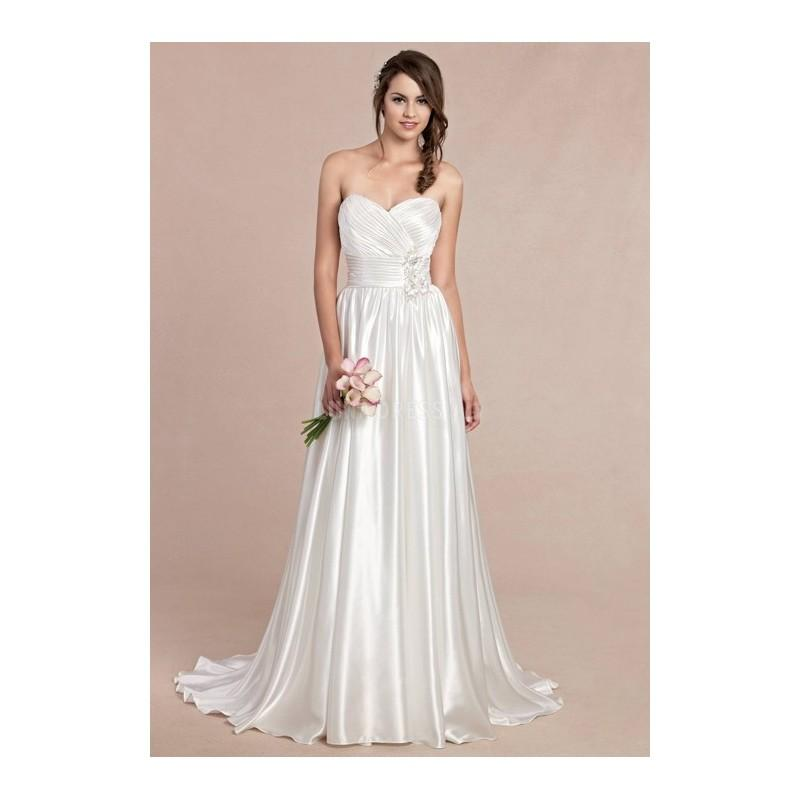 Sweetheart floor length natural waist a line elastic silk for Satin silk wedding dresses