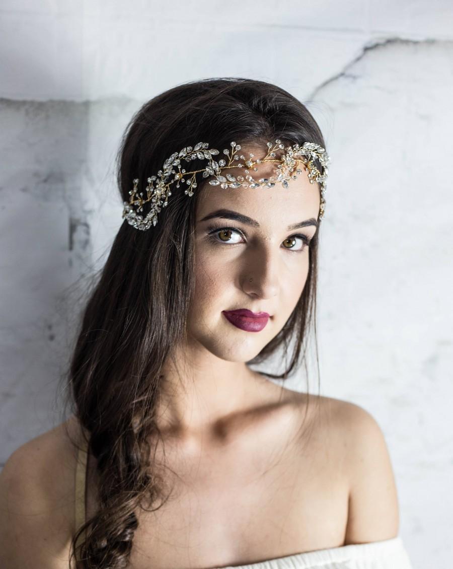Свадьба - Gold hair vine, bridal hair vine, gold hair piece, gold headband, vine hair piece, gold hairpiece, gold hair accessories, gold tiara