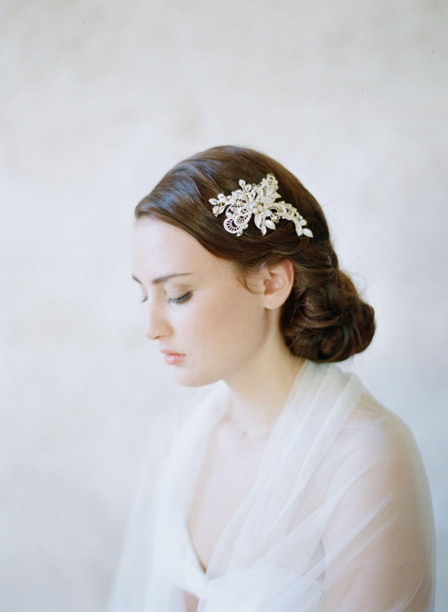 Hochzeit - Bridal crystal jeweled hairclip, light gold - Metal and lace crystal clip - Style 529 - Ready to Ship