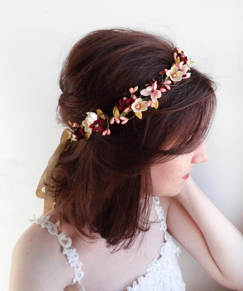 Mariage - burgundy headband, burgundy wedding, bridal headband, bridal headpiece, wedding floral crown, mustard burgundy flower crown, floral headband