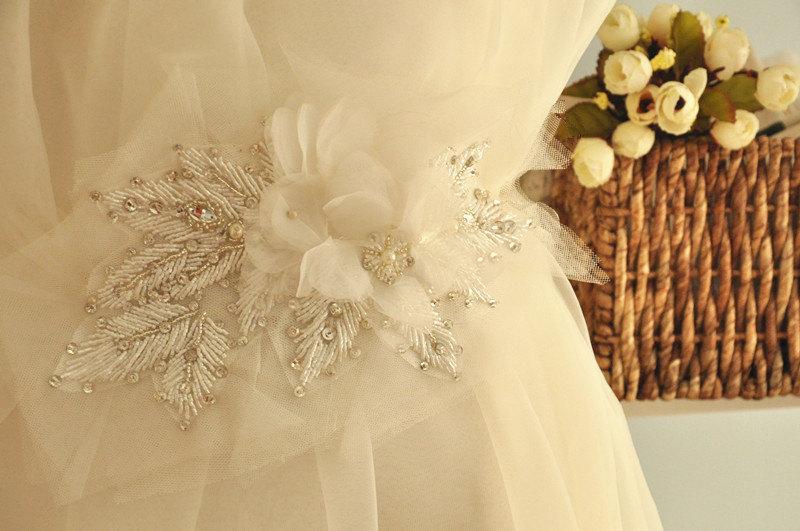 Hochzeit - Vintage Inspired Wedding Sash Rhinestone Applique with Chiffon Flowers Lace Trims Crystals