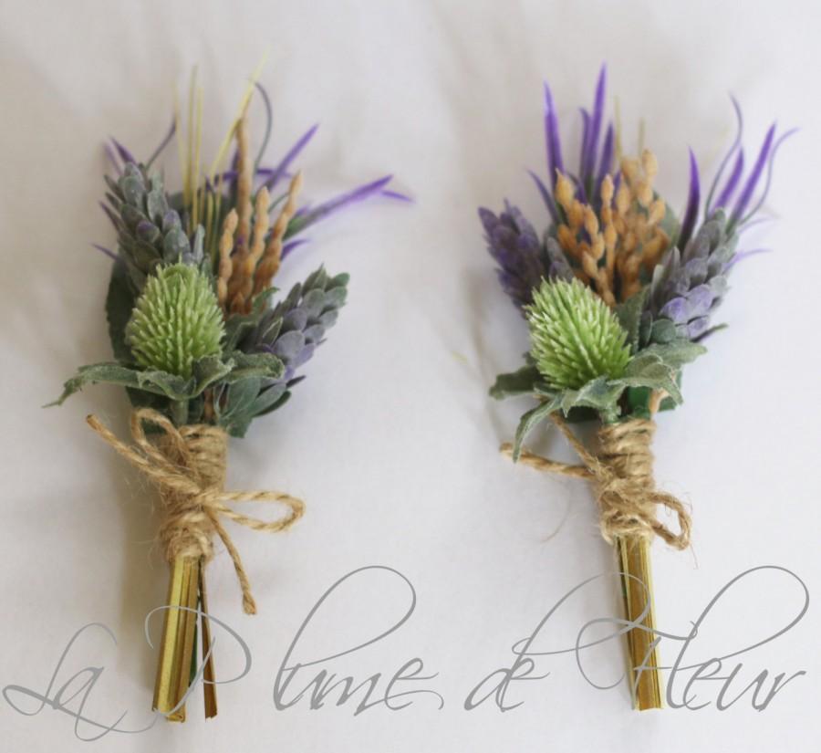 زفاف - Rustic Buttonhole, Boutonniere - Country Garden style buttonhole, wheat, thistle and lavender wildflowers.  Groom, groomsmen wedding flowers