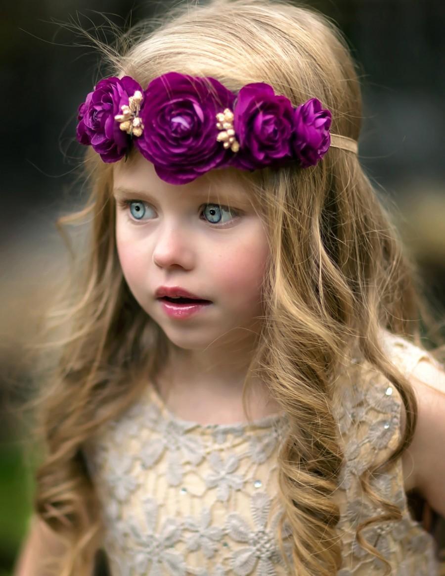 Mariage - Gold Purple Flower Crown Tieback Headband  - Boho - Flower Crown - Bohemian - Toddler - Adult - Wedding - Bridal - Flower Girl - Photo Prop