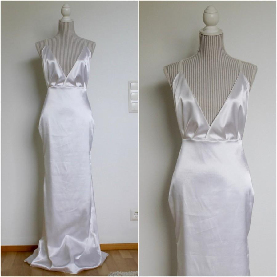 Hochzeit - Beach wedding dress, boho wedding dress, satin wedding dress, sexy wedding dress, backless wedding dress, wedding dress with train, CHLOE.