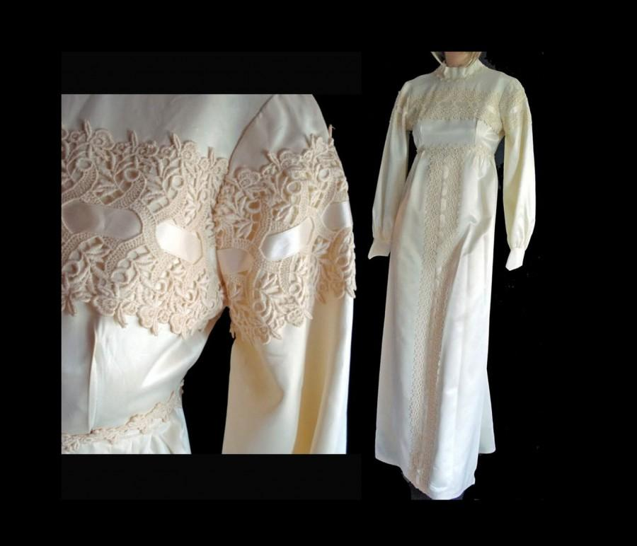 Mariage - Vintage Mod 60s Wedding Dress Empire Waist Ivory Satin Small