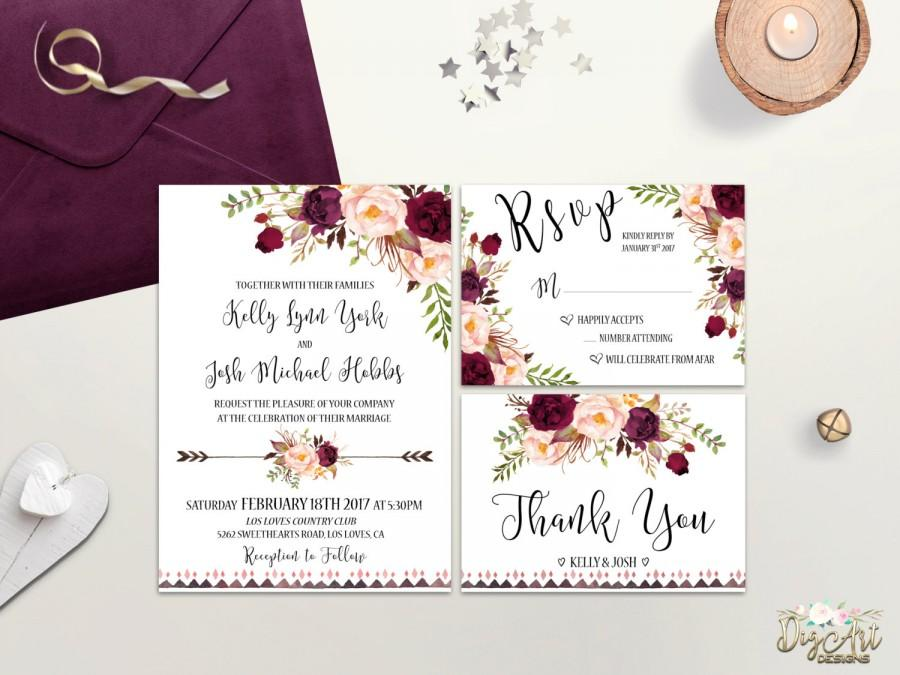 Hochzeit - Boho Wedding Invitation Printable Floral Wedding Invite Burgundy Blush Wedding Invitation Suite Rustic Wedding Invite Bohemian Wedding DIY