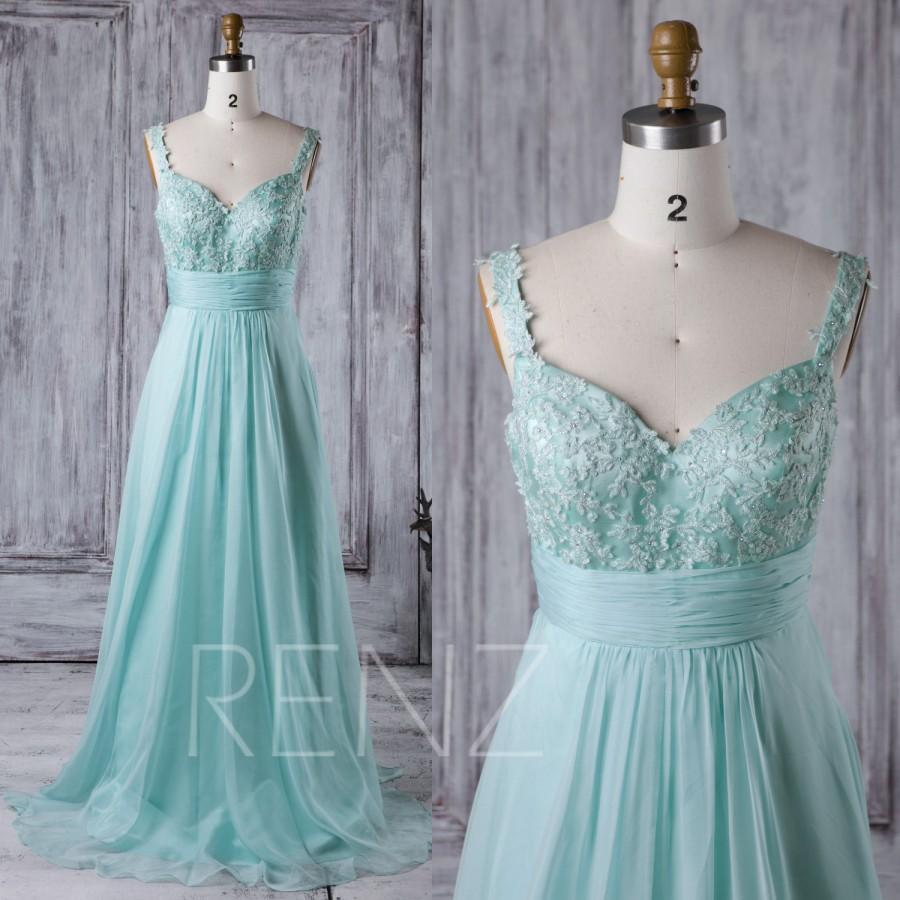 2017 Light Teal Chiffon Bridesmaid Dress, Lace Sweetheart Wedding ...
