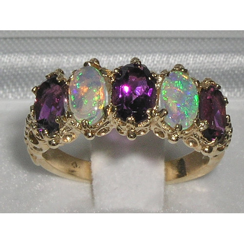 Wedding - Elegant Natural Amethyst & Opal 14K English Yellow Gold Victorian Eternity Band Engagement Ring -Made in England- Customize:9K,14K,18K Gold