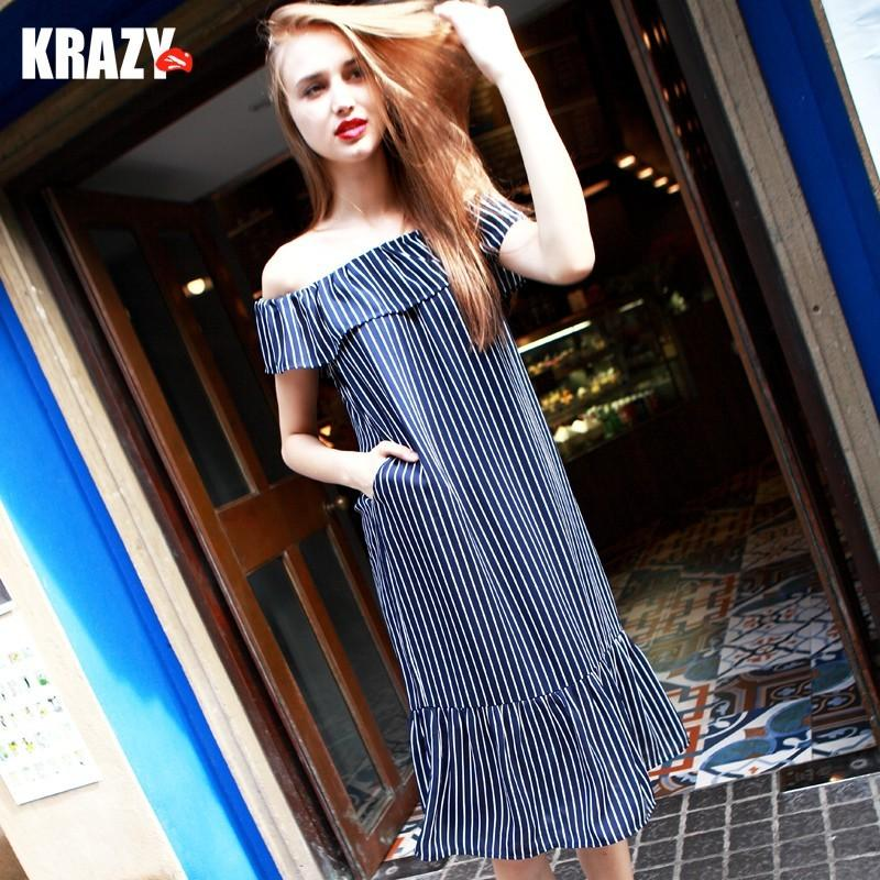 Свадьба - Cool sea breezes one shoulder line cropped wavy blue and white stripes and comfortable dresses, chiffon dress 8686 - Bonny YZOZO Boutique Store