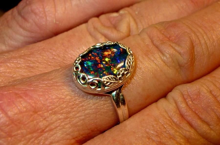 Wedding - Solitaire Genuine Australian Opal ring.Large 14x10mm Opal. Choose White Ethiopian opal or Australian Opal Triplet. Gold or Silver.
