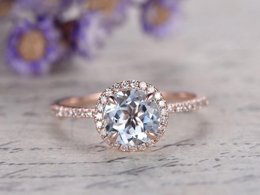 Wedding - Aquamarine engagement ring with diamond,Solid 14k Rose gold wedding ring,promise ring,bridal,7mm Round cut custom made fine jewelry