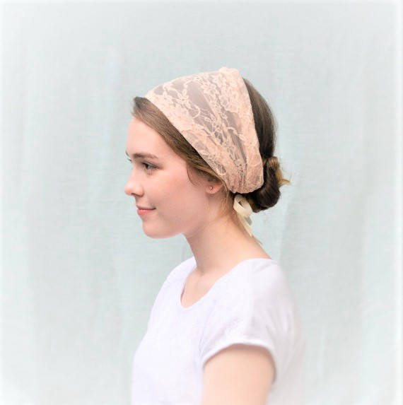 Mariage - Soft Peach Lace Convertible Head Cover