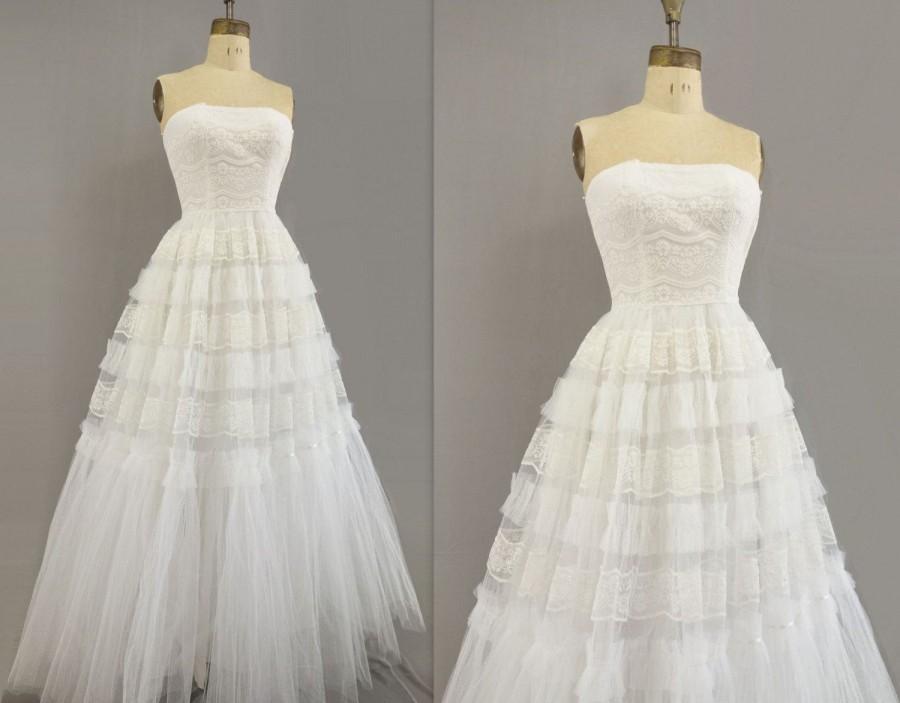 Свадьба - 1950s Wedding Dress White Tulle Dress 50s Vintage Wedding 50s Full Length Gown Tulle Lace Wedding 1950s Maxi Wedding Strapless Wedding xs