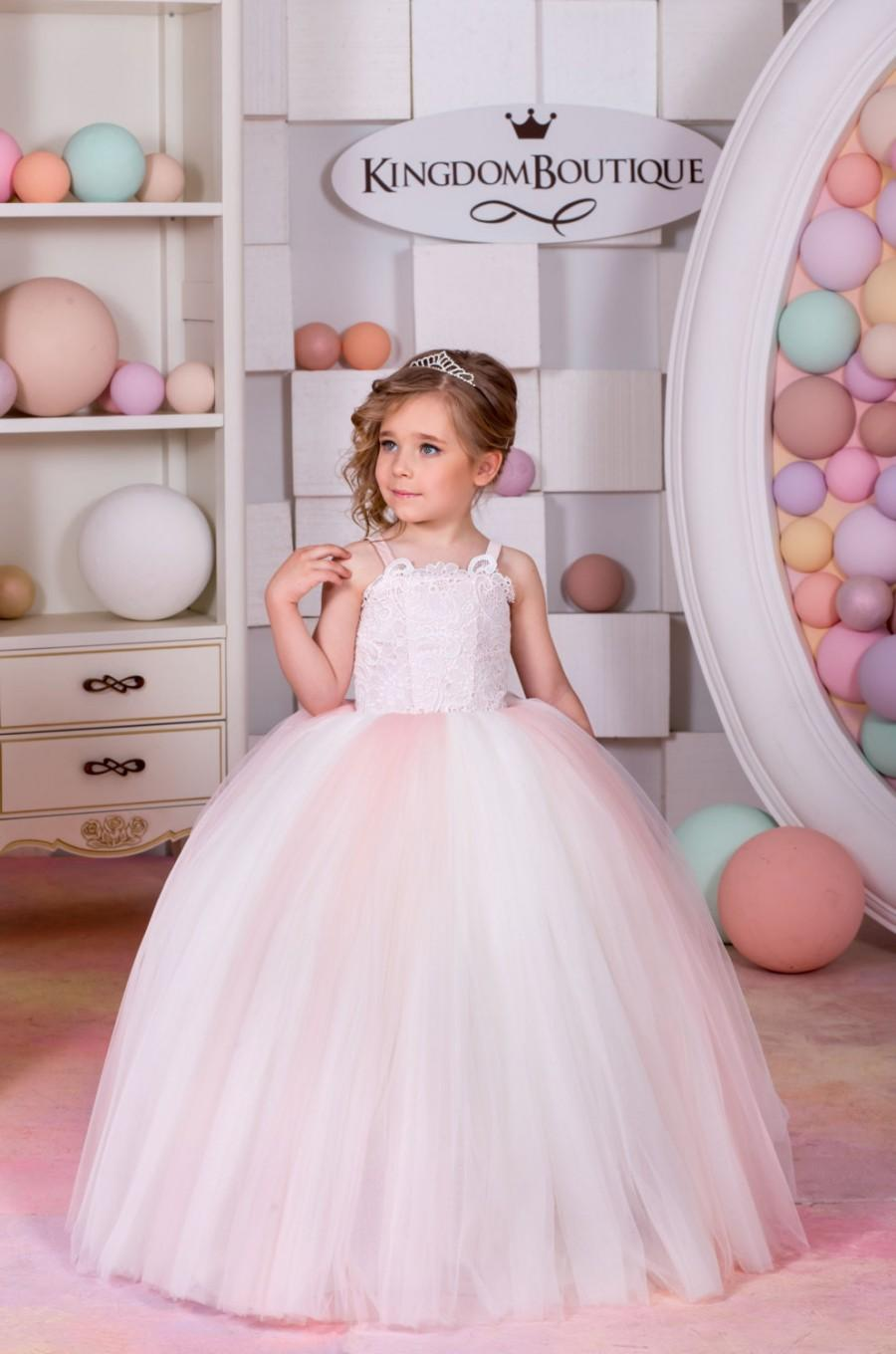 Ivory And Pink Lace Tulle Flower Girl Dress Wedding Party Birthday