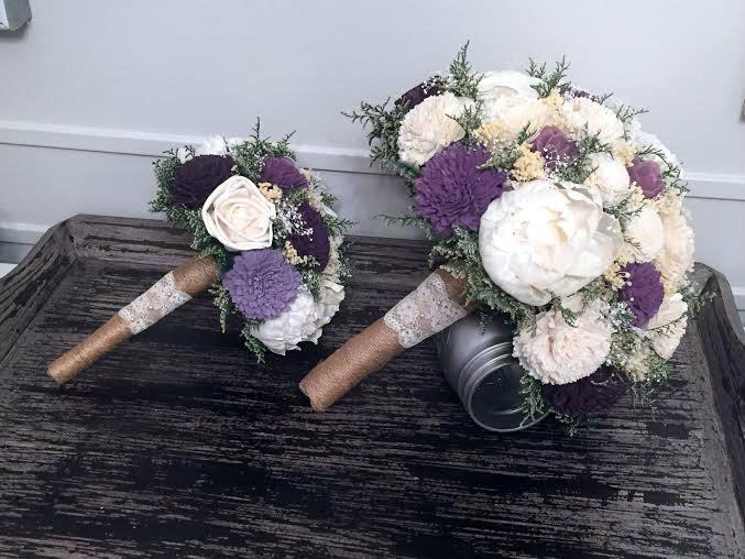 Hochzeit - Purple, Plum, Lavender, Ivory Wedding Bouquet - sola flowers - Customize colors - Alternative bridal bouquet - bridesmaids bouquet