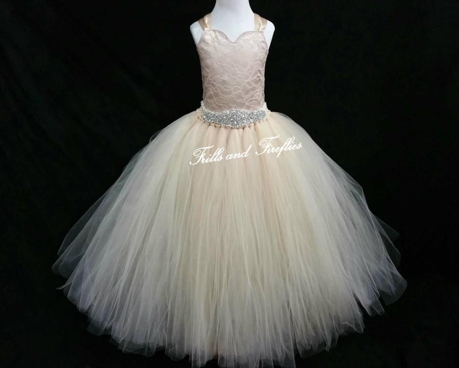 Champagne Corset Back Flower Girl Dress With Beautiful Rhinestone Waist Lace Style Tutu Size Baby Up To 12