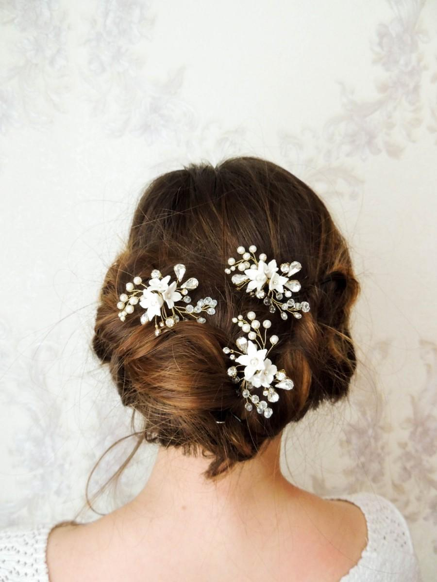 زفاف - Bridal hair pins Crystal Pearl Hair Pin Set of 3 Hair Pin Set Bridal Hair Piece Wedding Headpiece Swarovski Hair Pins Gold bridal hair pins