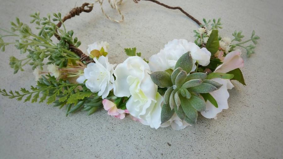 Свадьба - Floral Crown, Wedding Crown, Flower Hairpiece, Succulent Crown, Headpiece, Boho Crown, Whimsical Crown, Silk Flower Crown, Rustic