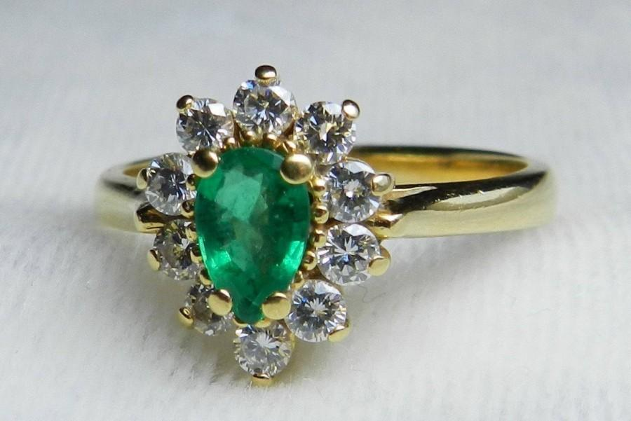 Wedding - Vintage Emerald Engagement Ring Emerald Ring Natural Fine Columbian Emerald Half Carat Diamond Halo ring 18k Yellow Gold