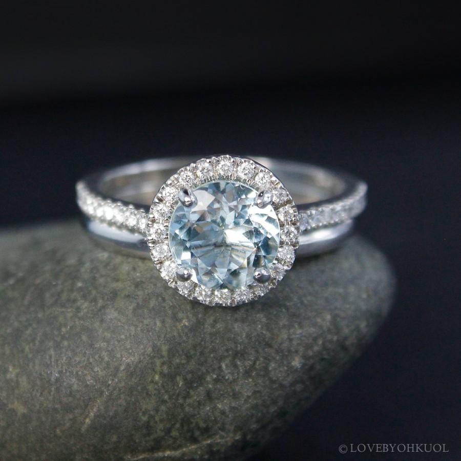 Wedding - Diamond Halo Blue Aquamarine Engagement Ring – 14Kt Gold Comfort Fit Wedding Band