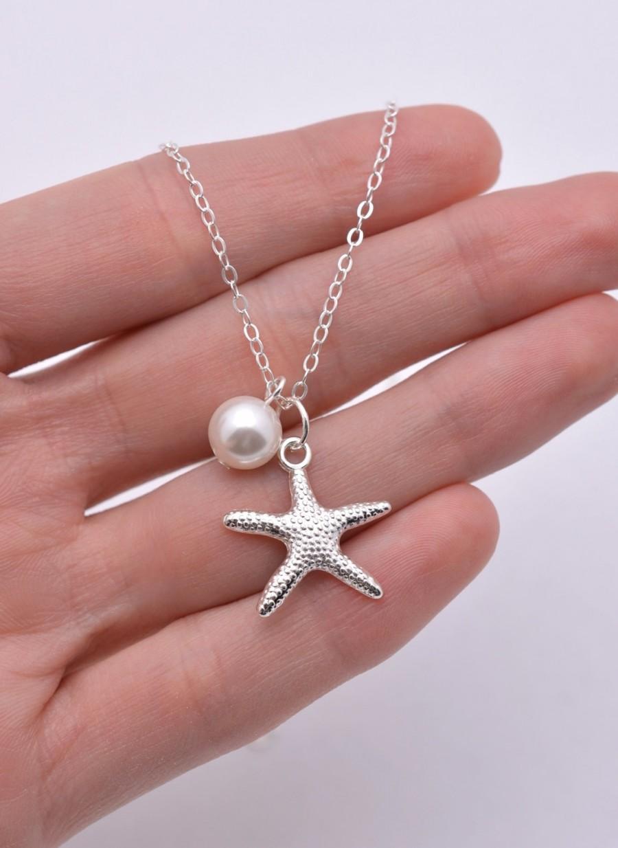 Свадьба - Set of 5 Bridesmaid Starfish Necklaces, 5 Starfish Necklaces, Starfish and Pearl Necklaces, Bridesmaid Necklaces, Beach Wedding 0199