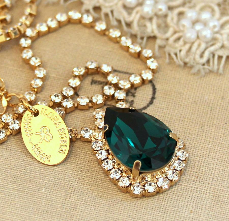 Mariage - Emerald necklace Emerald Green crystal Necklace Emerald Swarovski Necklace crystal diamond Bridal Necklace Gift for her Wedding Jewelry