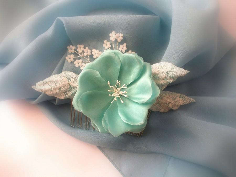Mariage - Wedding hair comb with silk flower and Czech beads, Turquoise Flower Hair Comb, Floral Hair Comb, Teal Blue Comb