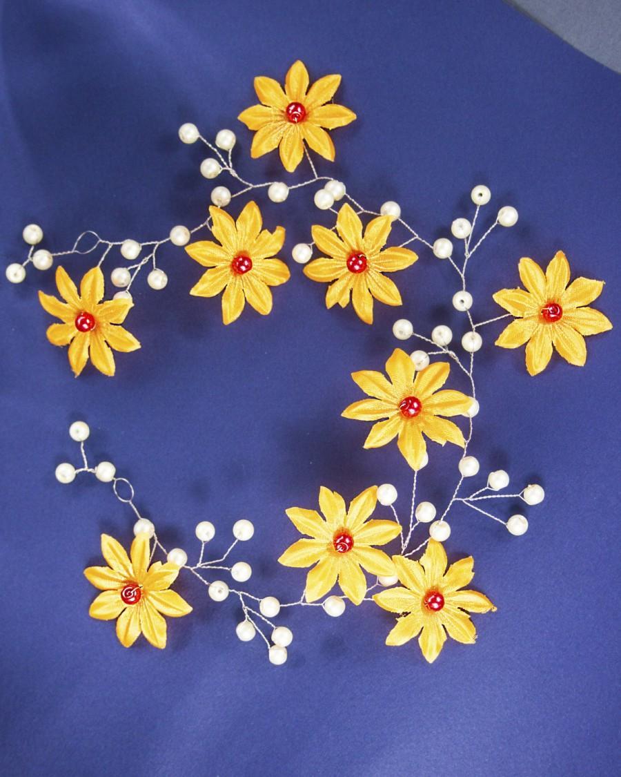 Mariage - Flower crown, Wedding Flower Hair Vine, Floral circlet, Fabric flower circlet, Wedding halo, Circlet bridal, Hairband wedding