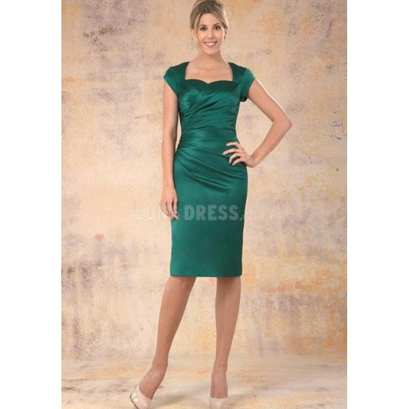 Perfect Knee Length Sheath Column Satin With Ruching Wedding Guest