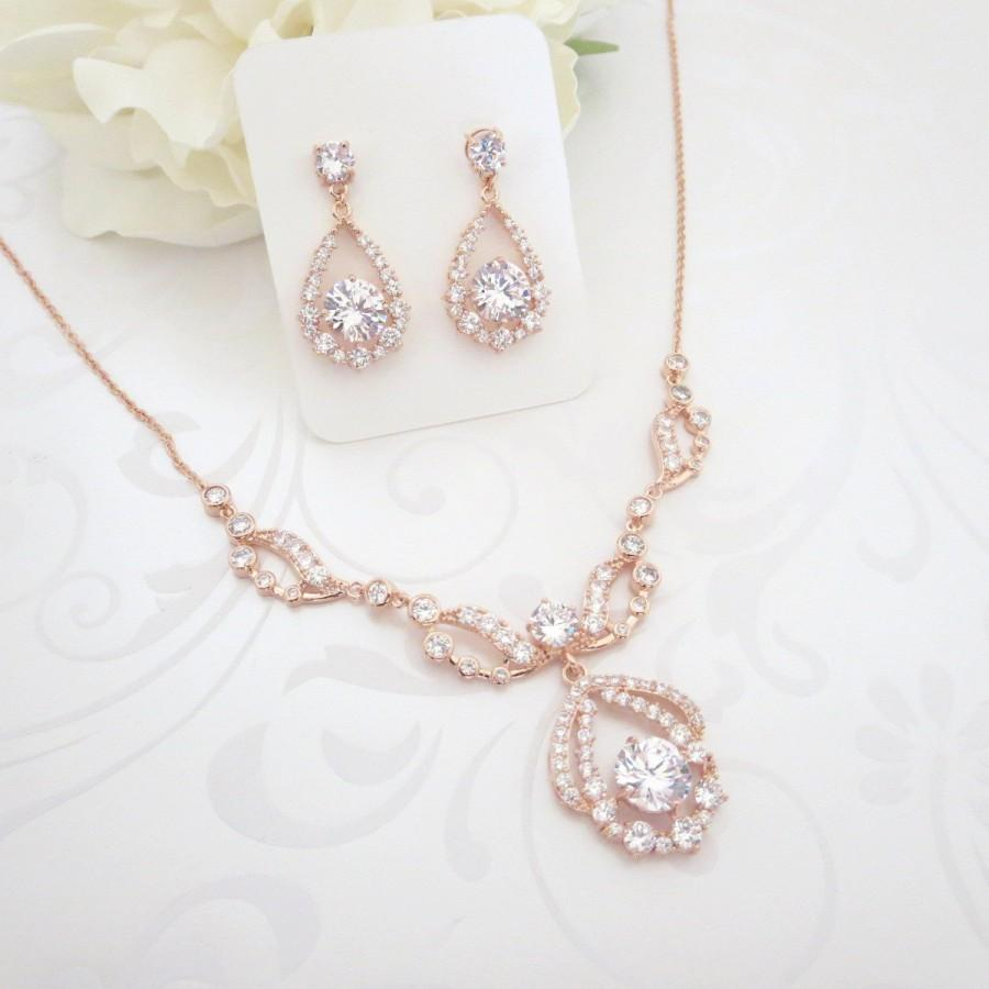Свадьба - Rose Gold Necklace set, Rose Gold Bridal necklace, Wedding jewelry set, Rose Gold earrings, Crystal earrings, Vintage style necklace