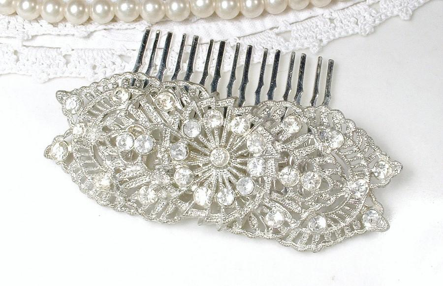 زفاف - 1930 Wedding Dress Sash BROOCH OR Hair Comb, Nouveau 1920s Antique Bridal Headpiece, Art Deco Vintage Pave Rhinestone Head Piece Victorian