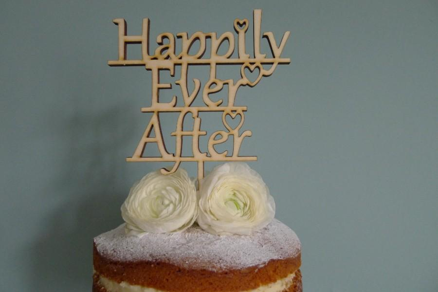 Mariage - Happily Ever After Wooden Wedding Cake Topper, Wedding cake topper, wooden cake topper