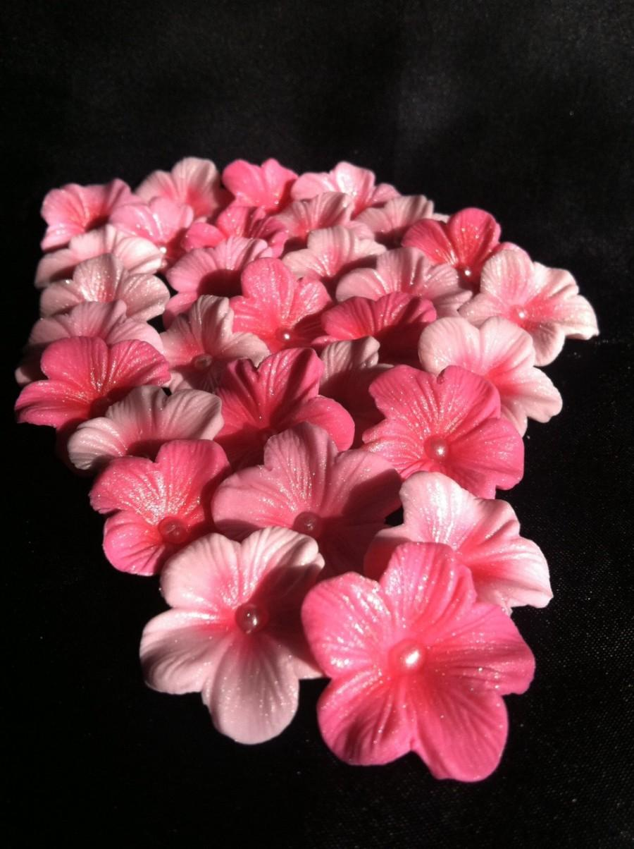 Mariage - Gumpaste Cake Decorations Different Shades of Pink  Cherry Blossoms 25 piece