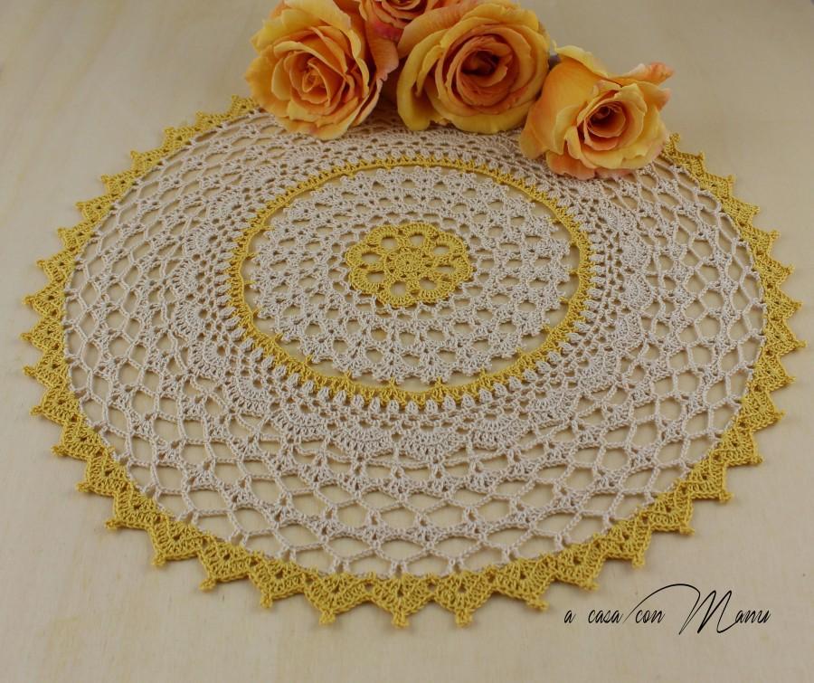 Centrino Rotondo Doily Crochet Centrino Uncinetto Beige E Giallo