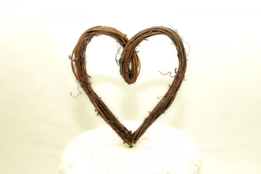 Mariage - Heart Cake Topper - Rustic - Wedding Cake Topper - Grapevine - Loop Style