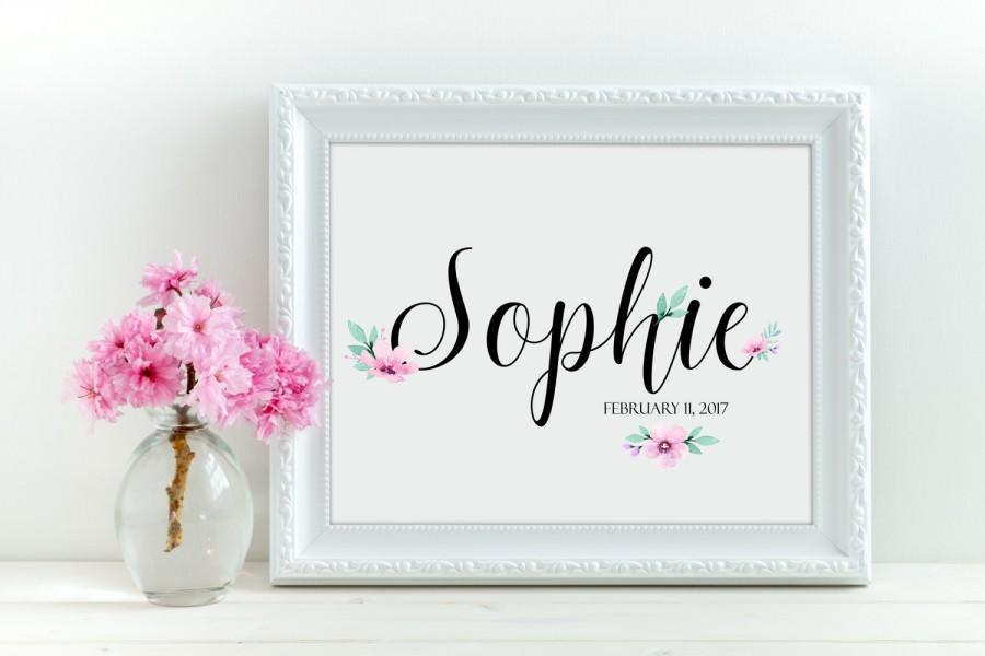 Mariage - Custom Name Girl name print Nursery name Custom name print Nursery decor Floral print Personalized name