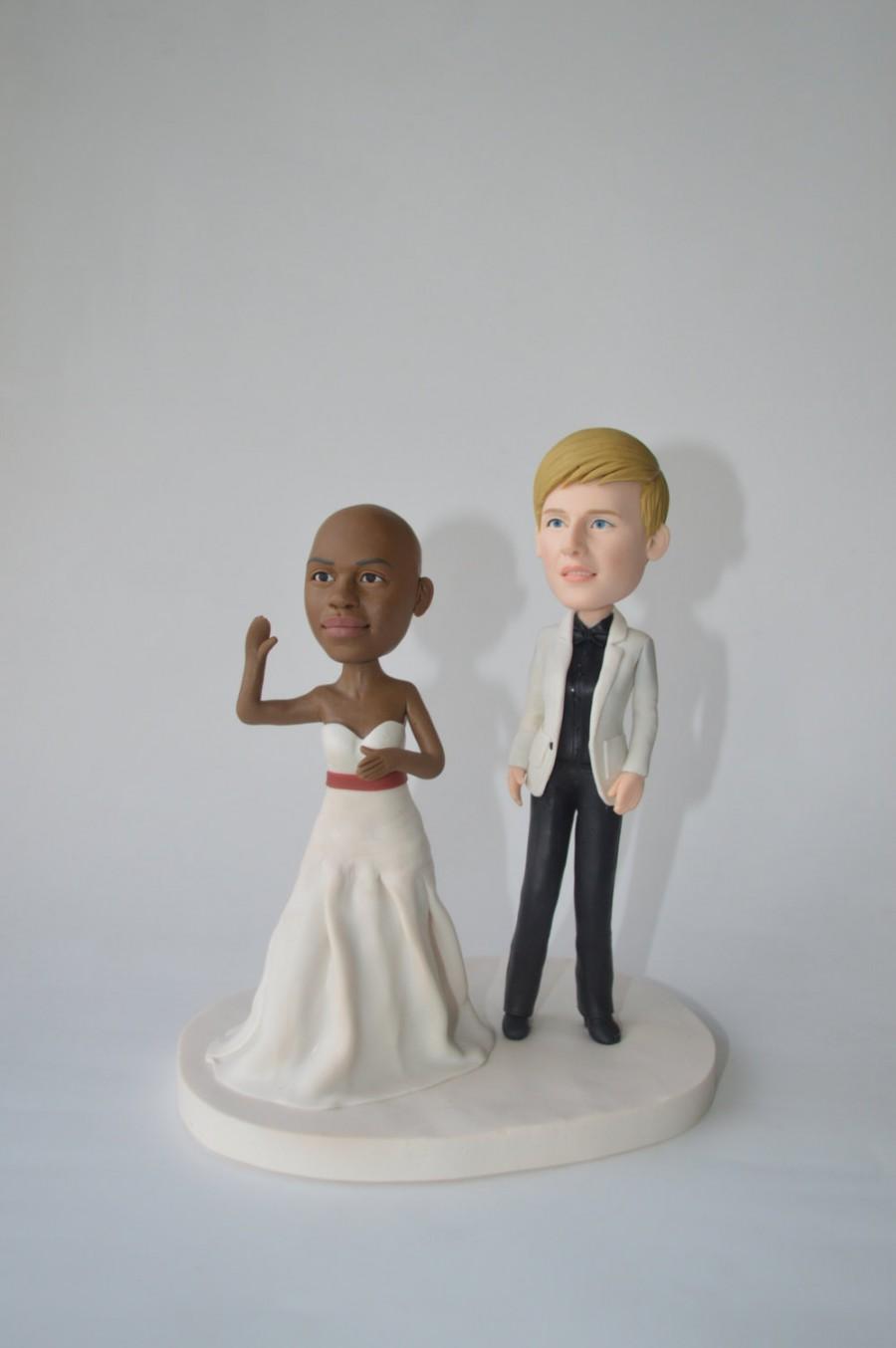 Mariage - Lesbian wedding cake topper LBGT Custom cake topper funny cartoon figure