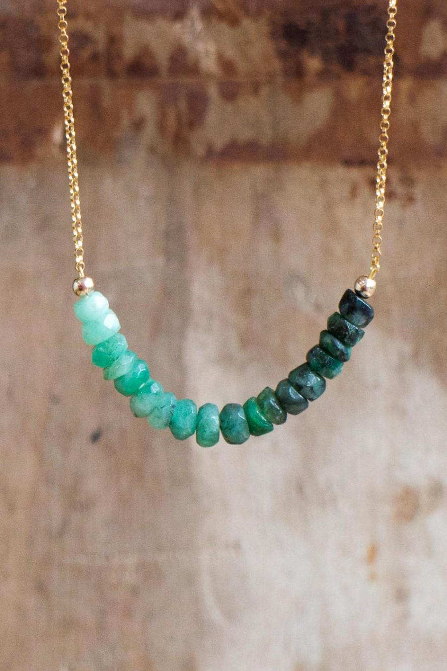 Boda - Raw Emerald Necklace, May Birthstone, Emerald Crystal Row Necklace, Silver Gold Emerald Jewellery, Emerald Ombre Green Layering Necklace