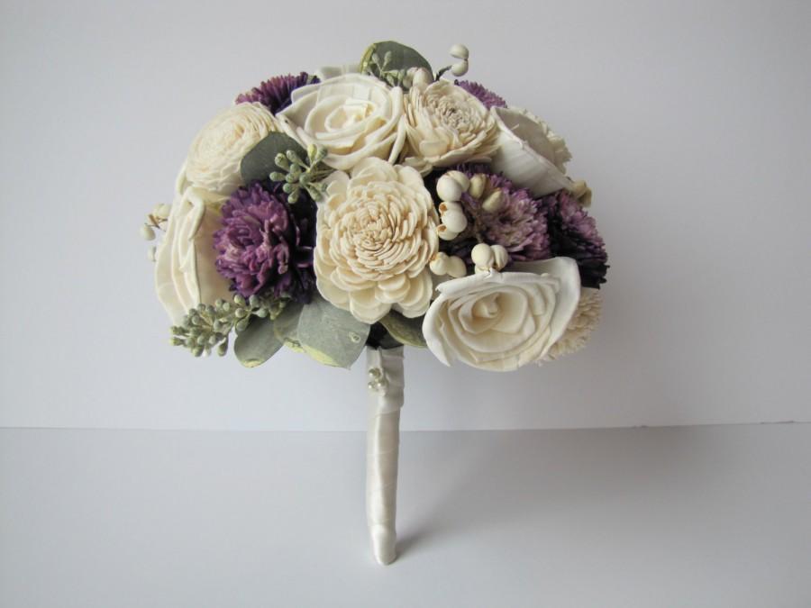 Свадьба - Ivory and Purple Bridal Bouquet, Purple accented bridal bouquet, keepsake bridal bouquet, alternative bridal bouquet, unique bridal bouquet