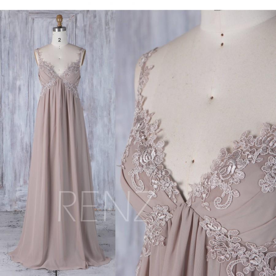 Wedding - 2017 Gray Chiffon Bridesmaid Dress Empire, Lace V Back Wedding Dress, Spaghetti Straps Prom Dress, Long Maxi Dress Floor Length (L253)