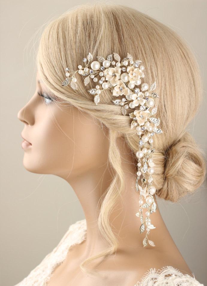 Mariage - Bridal hairpiece, Bridal hair clip, pearl hair piece, beads hair piece, wedding headpiece, wedding hair clip, pearl hair clip