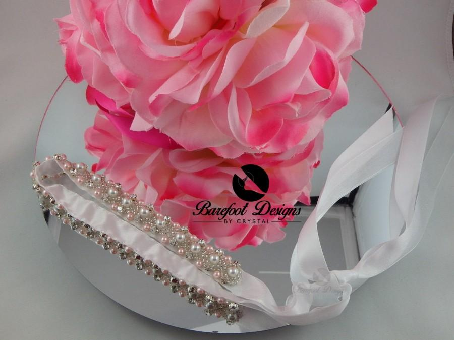 Mariage - Silver Diamond Pink Pearl Bridal Tie Up Headband with Matching Bracelet For Brides or Flower Girls