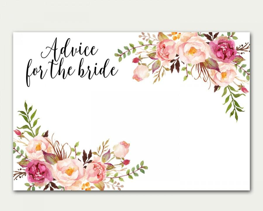 Advice For The Bride Bridal Shower Advice Card Floral Card Advice - Bridal shower card template
